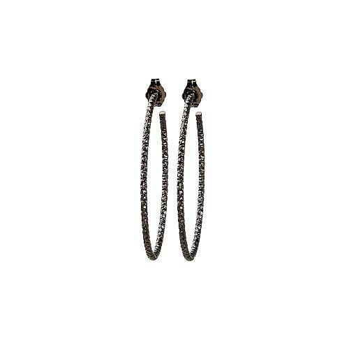 medium karma sparkle hoop earrings, charcoal sterling