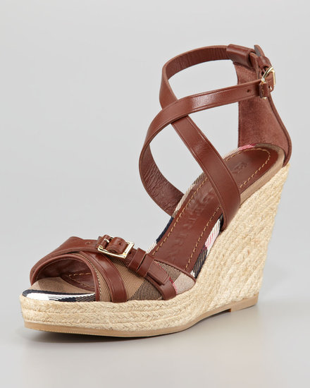 Burberry Bridle Leather and Cotton House Check Espadrille