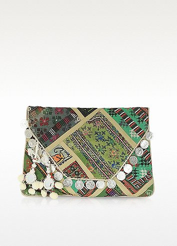 Antik Batik Banjo Large Embroidered Canvas Envelope Clutch