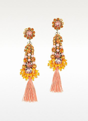 Radà Orange Crystals Drop Earrings