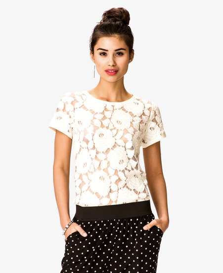 FOREVER 21 Floral Lace Tee
