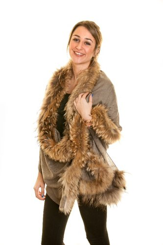 Pashmina Shawl with Taupe Silver Fox Fur