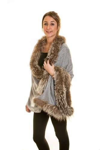 Pashmina Shawl With Trimmed Silver Fox Fur