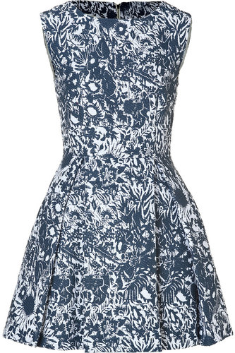 Suno Deep Pleats Jacquard Dress