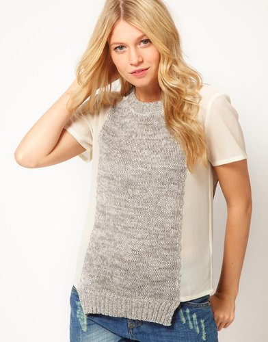 ASOS T-Shirt With Contrast Knitted Panel