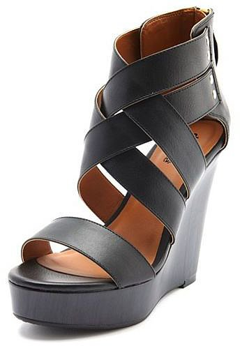 Crisscross Front Zip-Back Wedge