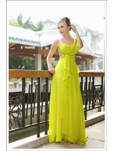 Beading Satin Column One shoulder Floor length Yellow Prom Dress WNP0036