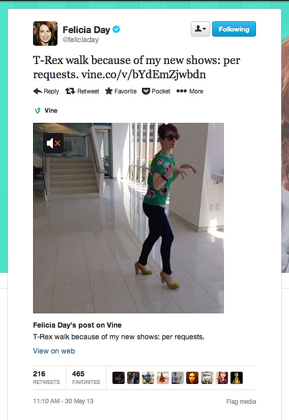 Geek & Sundry's Felicia Day wears T. rex heels. You know, the kind that make you walk like a tiny-armed carnivorous predator.