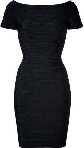Hervé Léger Black Off-the-Shoulder Bandage Dress