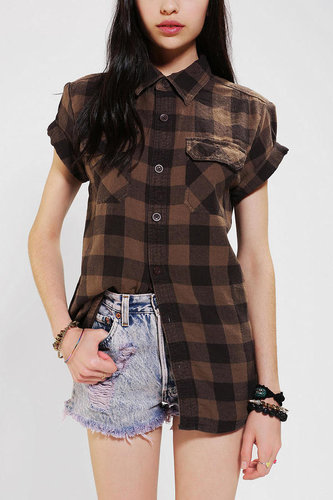 Urban Renewal Rolled-Sleeve Flannel Boyfriend Shirt