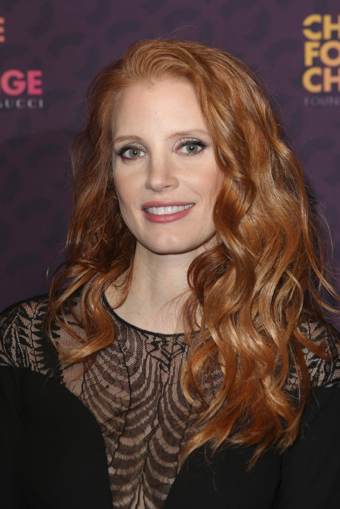 A touch of glittering eye shadow made Jessica Chastain's simple beauty look more concert-appropriate.