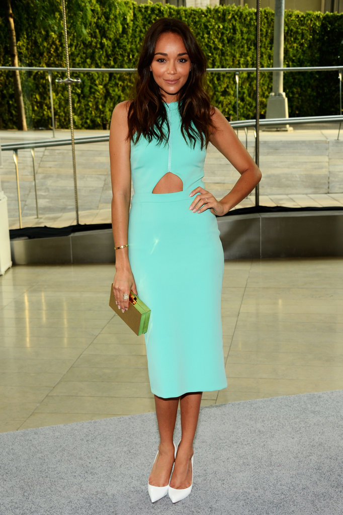 Ashley Madekwe was a breath of fresh air in her turquoise cut-out dress, and we can't think of a better companion than her white pumps.