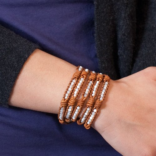 White Mother of Pearl Wrap Bracelet on Knotted Natural Brown Leather