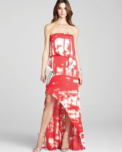 BCBGMAXAZRIA Strapless Dress - Tie Dye Asymmetric Hem