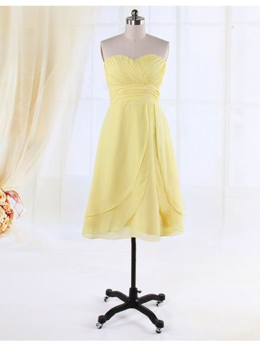 Chiffon A-Line Sweetheart Layers Bridesmaid Dress JDPD0054