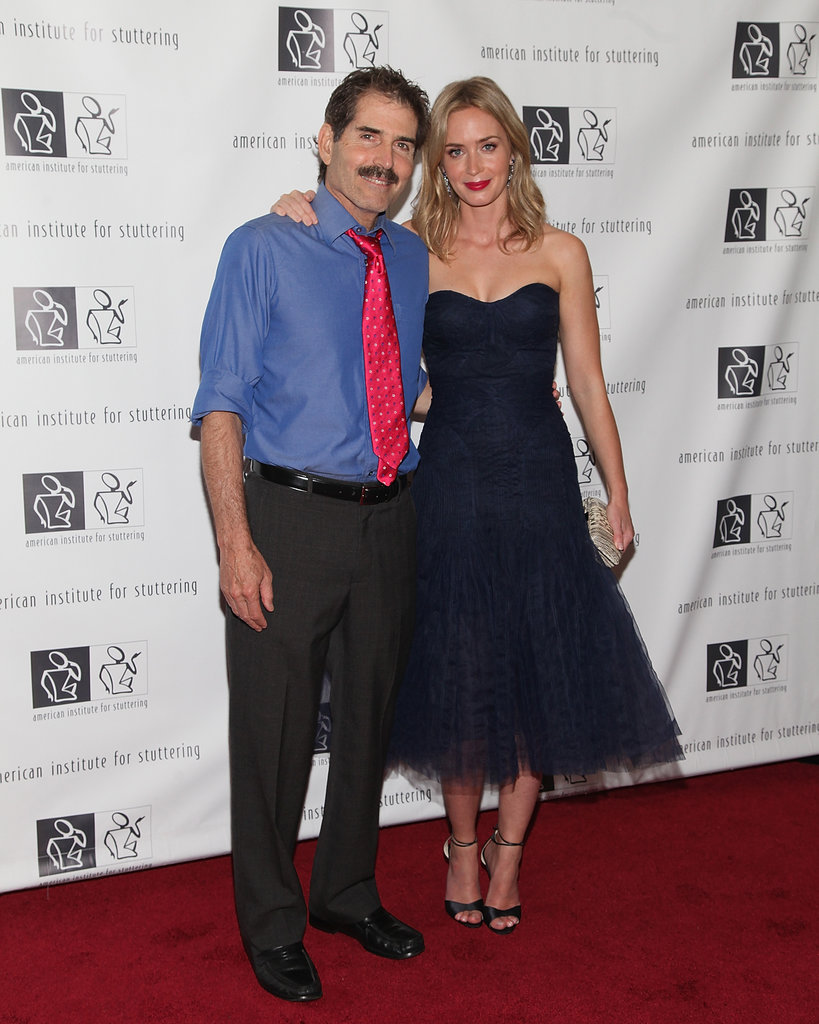 Emily Blunt met up with John Stossel at the benefit gala.