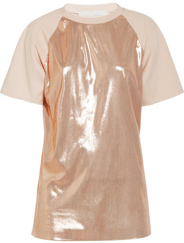 Esteban Cortazar Lamé and stretch-crepe T-shirt