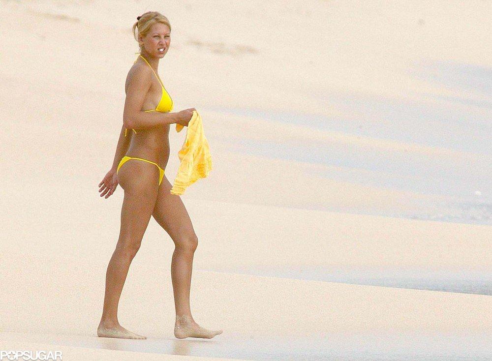 Anna Kournikova put her bikini body on display on the beach in St. Barts in January 2005.