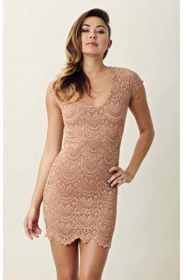 nightcap Spanish Lace Cap Sleeve Dress