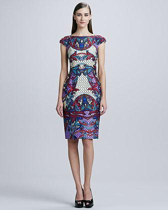 David Meister Printed Cap-Sleeve Dress