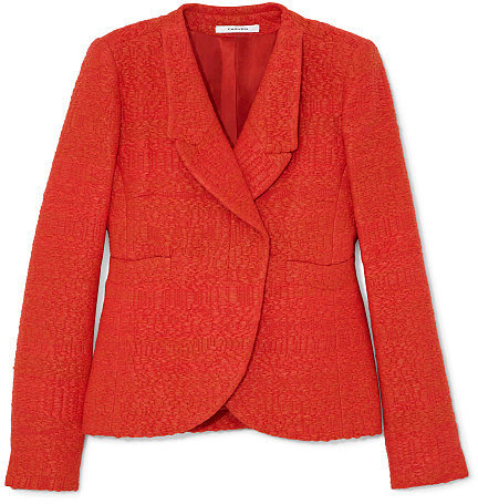 Carven Raffia Tweed Jacket In Poppy