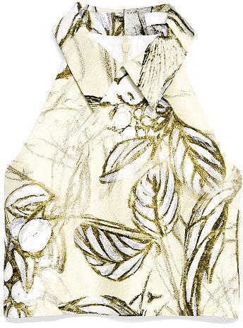 Honor Tree Print Organza Sleeveless Crop Top