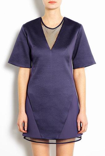 Richard Nicoll V-neck Illusion Shift Dress With Mesh Detail