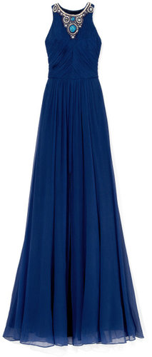 Matthew Williamson Ink Blue Embroidered Gathered Bodice Gown