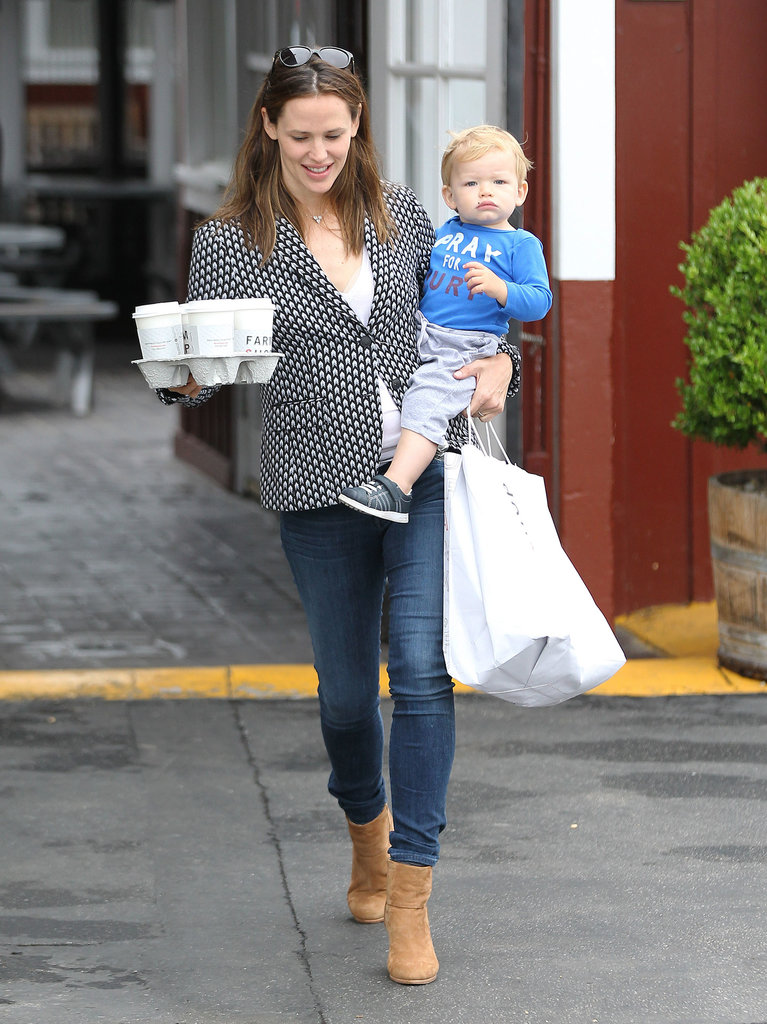 Jennifer Garner brought Samuel Affleck along for a coffee stop.