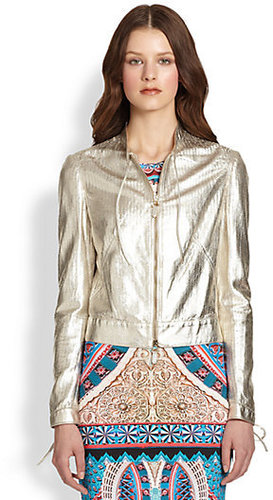 Roberto Cavalli Perforated Metallic Leather Jacket