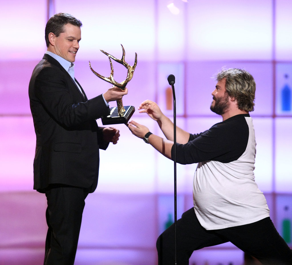 Matt Damon and Jack Black joked around in 2008 when they took the stage at the award show.