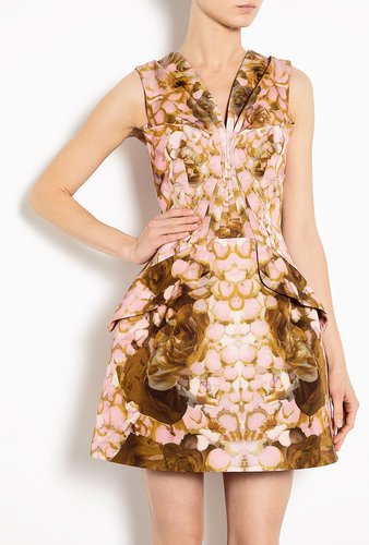 McQ Alexander McQueen Printed Rose Petal Bust Pleat Dress