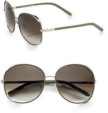 Chloe Nerine Round Aviator Sunglasses