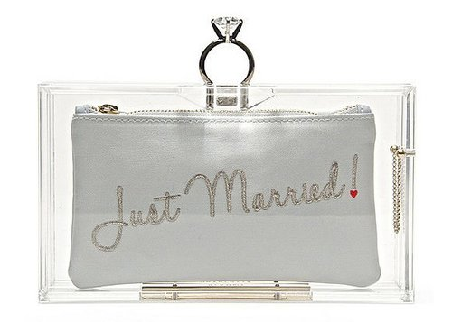 just married bridal clutches