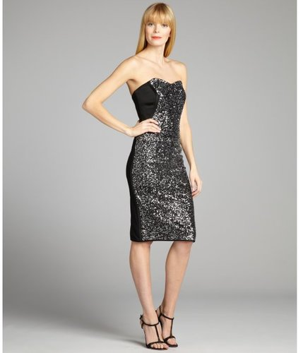 Notte by Marchesa black and silver sequined sweetheart strapless dress