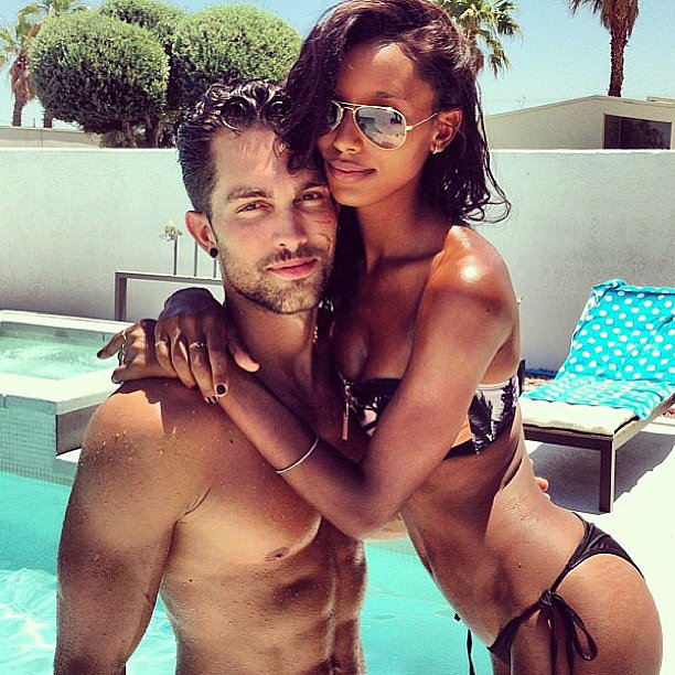 Can you say hotties? Model Jasmine Tookes and her boyfriend posed for sexy snaps during a pool day. Source: Instagram user jasminetookes