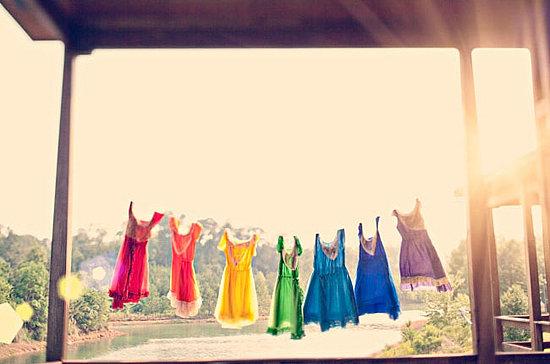 Rainbow-Colored Bridesmaid Dresses