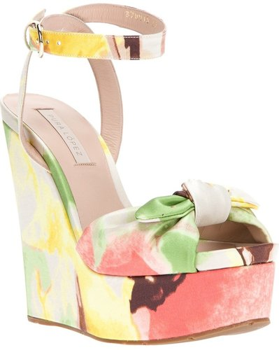 Pura López floral print wedge sandal