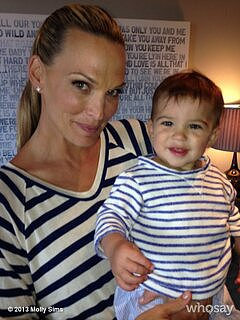 Molly Sims and Brooks were matchy-matchy in stripes. Source: Twitter user mollybsims