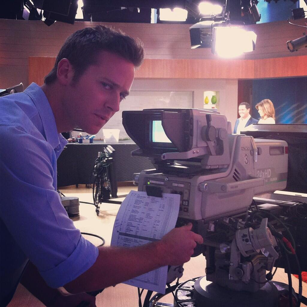 Lone Ranger star Armie Hammer was put to work before his interview on The Morning Show. Source: Twitter user paulewart7