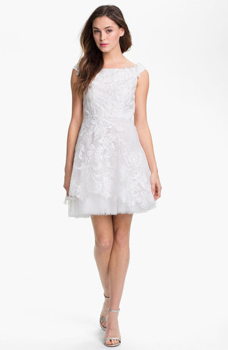 Adrianna Papell Embroidered Taffeta Fit & Flare Dress