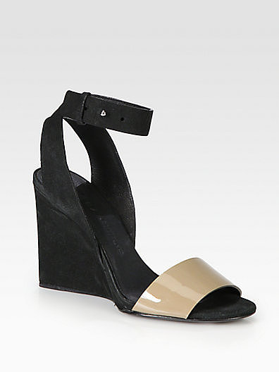 See by Chloe Bicolor Patent Leather & Suede Wedge Sandals