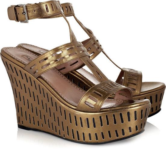 Alaïa Metallic perforated leather wedge sandals