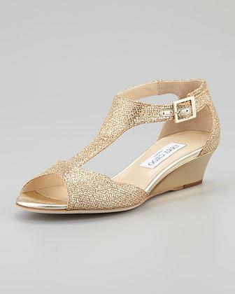 Jimmy Choo Treat Glittered T-Strap Micro Wedge Sandal