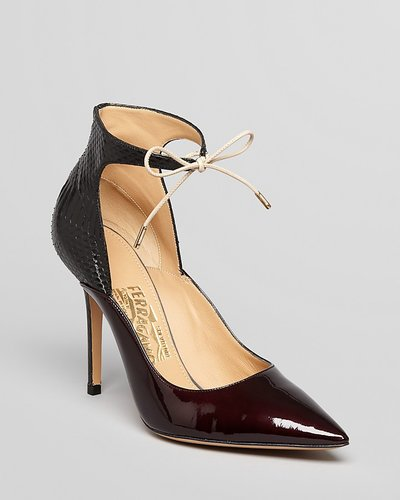 Salvatore Ferragamo Pointed Toe Pumps - Rema Lace Up High Heel