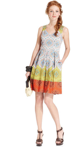 London Times Dress, Sleeveless Printed Pleated