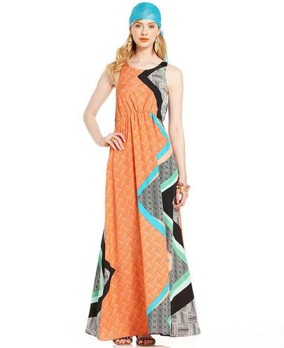 Bar III Dress, Sleeveless Scoop-Neck Geometric Maxi