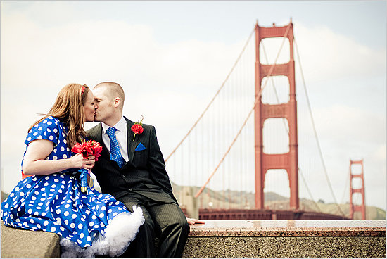 The Dress Forget the pressure to wear a floor-length, white ballgown down the aisle, when you elope you can wear whatever you want — like a fun blue-and-white, polka-dot frock! I especially love all the short dresses and fun colors. Photo by Mike Murrow Photography via Wedding Chicks