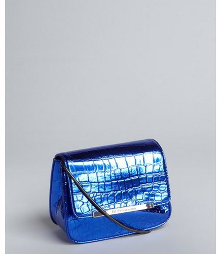 BCBGeneration metallic cobalt python embossed faux leather 'Rayna' shoulder bag