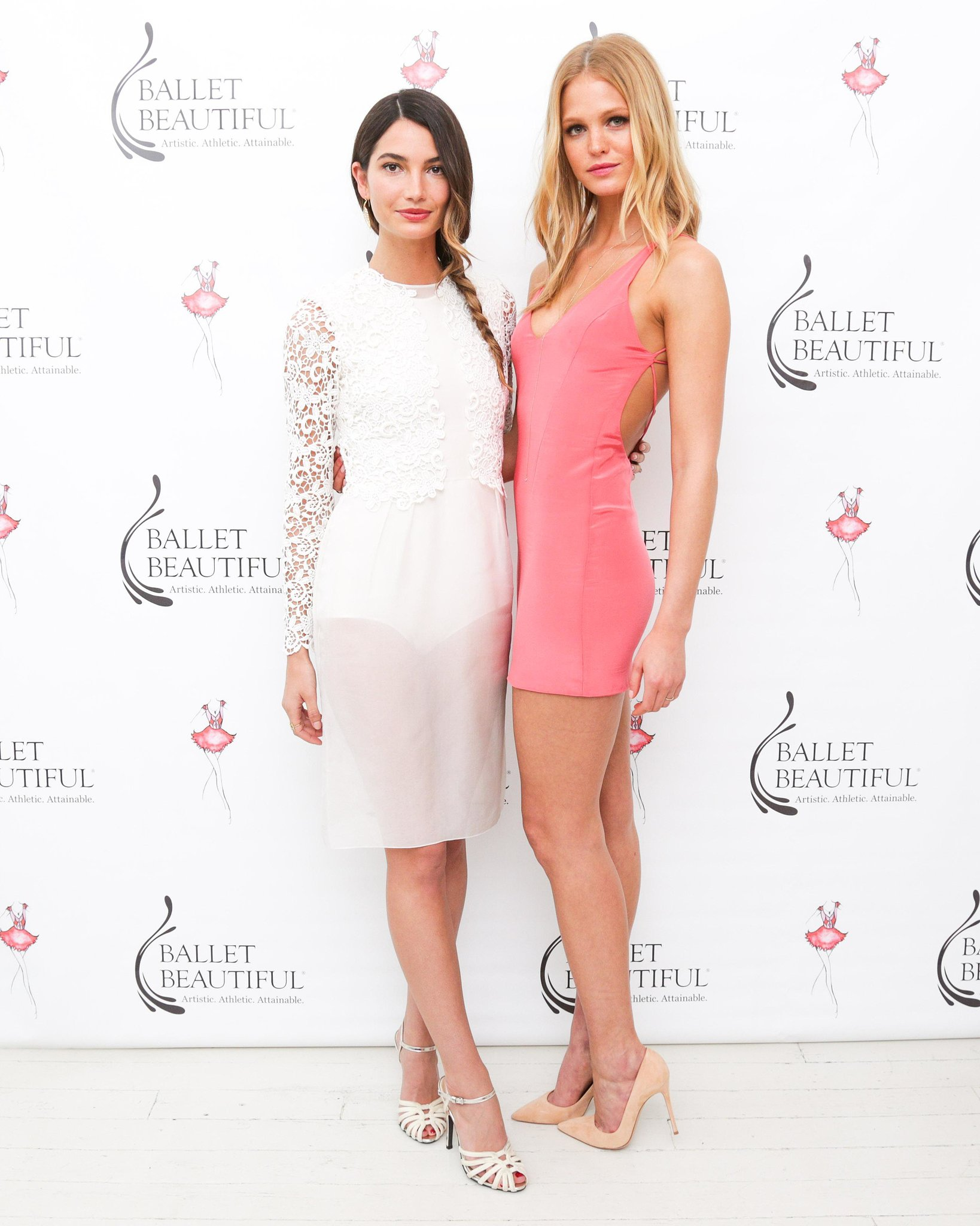 Lily Aldridge and Erin Heatherton at the Ballet Beautiful Custom Workout launch in NYC. Source: Benjamin Lozovsky/BFAnyc.com